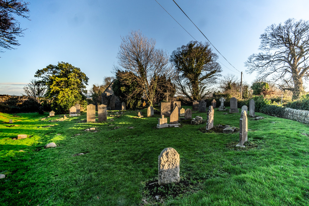 ANCIENT CHURCH AND GRAVEYARD AT TULLY [LAUGHANSTOWN LANE NEAR THE LUAS TRAM STOP]-134609