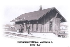 Illinois Central Depot behind the Monticello, IL Livingston St Post Office c1899 (RLWisegarver) Tags: piatt county history monticello illinois usa il