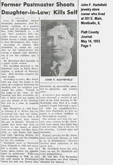 John F Hartsfield, formerly of 301 E. main, Monticello, IL, commits suicide  May 1953 (RLWisegarver) Tags: piatt county history monticello illinois usa il