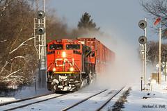 CN 8804 @ Stillwell, IN (Michael Polk) Tags: q149 canadian national emd sd70m2 grand trunk western searchlight signals stilwell indiana freight train stack intermodal