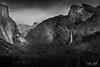 Yosemite Tunnel View (Drifton Dalton) Tags: yosemite yosemitenps tunnel view valley summer black blackandwhite bw ansel adams bridalveil falls el capitan elcapitan half dome halfdome landscape canon overlook rock sky storm stormy mountain mountainside monochrome