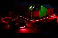 0.000000635 meters (eichlera) Tags: laser red light monochrome interferometer physics ethzurich experiment optics