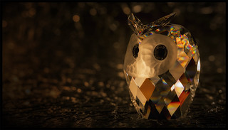 Crystal Owl Lit by Candlelight