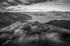 NZL / Isthmus Peak B&W (steiner_roman) Tags: nz nzl neuseeland new zealand nature wonder sound berg gras landschaft himmel baum wald lake wanaka hawea see aussicht view peak nikon storm sturm isthmus