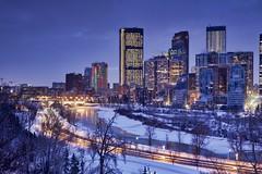 Calgary Christmas morning -20 C (John Andersen (JPAndersen images)) Tags: bowriver calgary christmasdecorations cold festive holiday house lights morning panorama skyline stars