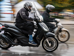 Athens. Rain. (GeorgeDement) Tags: 2017 athens december greece syntagma motocycle panning rain reflections scooter motorcyclist piaggio beverly