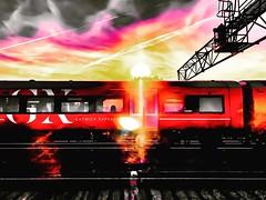 Gatwick Sunrise Express (LeRouxster) Tags: winter abstract creative red coloursplash sunrise flight train rail gatwickexpress express gatwick london unitedkingdom england uk mobilephotography iphoneography shotoniphone iphonex iphoneonly iphone