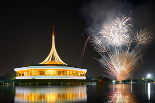 Fireworks at Saun Luang Rama IX public park, Most popular destination in Bangkok Thailand