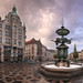 Panorama of Amagertorv Square and Stork Fountain in the Morning, Copenhagen, Denmark
