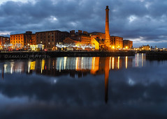 Canning Dock (.annajane) Tags: canningdock canninghalftidedock reflection pumphouse water clouds cloud dock liverpool uk england merseyside albertdock lights dusk night longexposure