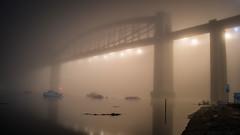 Royal Albert Bridge - Plymouth (alec0nline) Tags: royal albert bridge plymouth saltash devon cornwall uk photography fog foggy weather night light scenery tamar river
