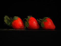 Three in a Row (Smiffy'37) Tags: smileonsaturday redrules stilllife fruit blackbackground red