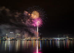 Fireworks for the New Year (Chuck - Thanks for the 1M Views!!!) Tags: photosbymch landscape fireworks night longexposure waterside norfolk portsmouth elizabethriver virginia usa 2017 canon 5dmkiv reflection lights outdoors celebration independenceday singleexposure