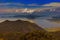 Morning Sun Shines on Taal Lake and Volcano, Tagaytay, Philippines