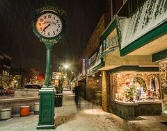 Ghosts shopping tonight . . . (Dr. Farnsworth) Tags: frontstreet downtown shopping ghosts longexposure clock sidewalk snow traversecity mi michigan fall december2017
