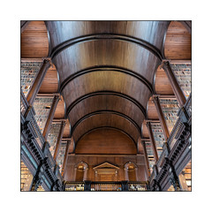 A library is a hospital for the mind. (moniquevantorenburg) Tags: library bibliotheek books boeken trinitycollege dublin republicofireland thelongroom university roof woodenroof symmetric symmetrisch notripod m43 square microfourthirds olympusomdem5markii olympus124028pro mirrorless spiegelloos historic pointofview lookingup