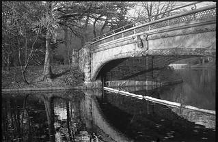 walking bridge, reflections, Prospect Park, Brooklyn, New York, Kodak Retina IIIc, Arista.Edu 200, Moersch Eco Film Developer, early December 2017
