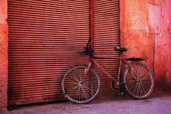 Red bike (JLM62380) Tags: bike red marrakech morocco marrakesh travel africa maroc medina garage street