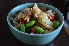 Chick'n and Veggie Stir-fry (Vegan) (Vegan Butterfly) Tags: vegetarian vegan food yummy tasty delicious veggies vegetables peas peppers cabbage tofurky chicken chickn strips soy meat meatless bowl supper dinner dish meal