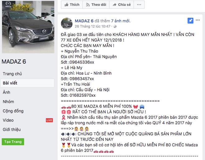 Hang chuc nghin nguoi bi lua boi fanpage 'tang Mazda6' hinh anh 1