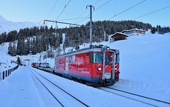 MGB Autozug Deh4/4 no.23_Dieni, Switzerland_241217_01 (DS 90008) Tags: deh44 rueras station bahnhof railway railtransport autozug cartrain logistics winter oberalppass mgb matternhorngotthardbahn rails snow landscape andermatt wagons 23 electrictraction electricfreight sedrun nature mountains train metregauge dieni