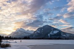 The Icy World Is His Oyster (Kristin Repsher) Tags: alberta banff banffnationalpark canada canadianrockies df hotspring mountrundle mountains nikon rockies rockymountains snow sunrise vermillionlakes winter ca