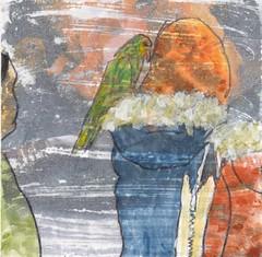 # 244 2018-01-03 (h e r m a n) Tags: herman illustratie tekening 10x10cm tegeltje drawing illustration karton carton cardboard kunst art meisje girl vogel bird coat jas
