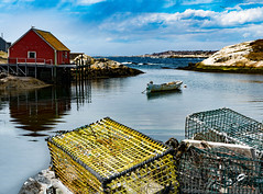 Peggy's Cove (Greg Adams Photography) Tags: canada 2017 sea shoreline shore water cove sky clouds dramatic cages lobster traps boathouse boat waves dramaticsky travel tourism hhsc2000