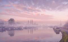 Pastel Mist (Captain Nikon) Tags: pastels sawleycut sawley longeaton derbyshire leicestershire atmospheric narrowboats boats marina moorings reflections dawn sunrise mist misty landscapephotography england greatbritain winter
