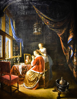Gerrit Dou - Lady at Her Toilet, 1667 (Museum Boijmans Van Beuningen Rotterdam Netherlands) at Vermeer and the Masters Exhibit at National Gallery of Art - Washington DC