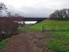 Gate and the A55 bridge, 2017 Dec 21 (Dunnock_D) Tags: uk unitedkingdom britain england green grass grey cloud cloudy sky field trees path a55 bridge roadbridge marchesway