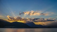 Sunset and sunbeams (Marta Panzeri) Tags: mountain sunset sky clouds lake comolake lario lombardia italy italia lanscape nature sunbeams