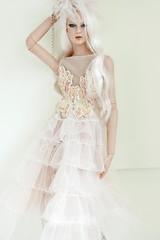 Winter Breeze _ Natasha (V. JHON DOLL) Tags: bjd doll fashion couture wedding gown ruffle sequin cream white platium feather vjhon