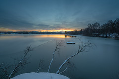 Icy Platform (tomi.a) Tags: finland turku kakskerta beach platform pier sunset ice snow winter reflection outdoor nature lake water trees branches clouds sky sunlight landscape lakescape cold d850 travel island suomi calm still flickr environment colours blue white smooth