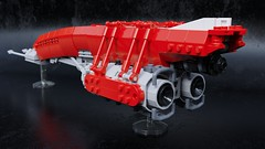 """Red Arrow"" express (Sunder_59) Tags: lego moc render blender3d mecabricks scifi space spaceship starship spacecraft ship transport vehicle"