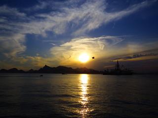 Sunset na entrada da Baía da Guanabara - Gragoatá, Niterói, RJ.