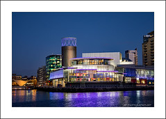 The Lowry Theatre (prendergasttony) Tags: bridge mediacity salford manchester night evening reflection nikon d7200 tonyprendergast outdoors lancashire england uk blue bbc building sky boat water architecture city canal lowry theatre quays bluehour