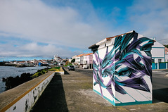 bus stop street art by Pantónio at São Mateus da Calheta (Terceira Island, Azores) (Gail at Large | Image Legacy) Tags: 2017 azores açores ilhaterceira pantónio portugal sãomateusdacalheta terceira gailatlargecom streetart