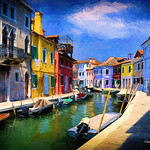 Digital Oil Sticks Painting of a Burano Canal by Charles W. Bailey, Jr. thumbnail