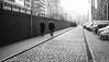 Fog on the road (hector_cbs) Tags: hamburg christmas fog foggy niebla diagonal monochrome blackandwhite silhoutte wall germany deutchland people street streetphotography streetphotographer