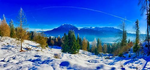 Winter panorama of the Alps with Kaiser mountains over the river Inn valley near Kiefersfelden, Bavaria, Germany