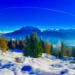 Winter panorama of the Alps with Kaiser mountains over the river Inn valley near Kiefersfelden, Bavaria, Germany thumbnail