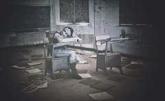 Detention! (DeeAshley) Tags: photo interesante a7rii foto unitedstates urbanexploration photography deeashley dionneashley flickr travel sony dionnehartnett gogoloopie interesting texasurbex becauseican abandonedtexas urbex abandonedschool selfie me student selfportrait school female funny southtexas sleeping girl classroom lol abandoned portrait woman self centraltexas 2015 sleepinginabandonedplaces