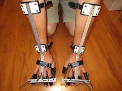 Kneeling in Forearm and Wrist Splints (KAFOmaker) Tags: splint splints splinted brace braces braced bracing leather ties tied restraint restraints restrain bound bind bondage fetish strap straps strapping strapped bar bars straight cuff cuffs cuffed lace laces laced appliance orthopedic orthopedics pad pads padded rivet rivets riveted buckle buckles buckling buckled