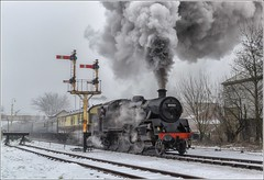 80080. Winter departure ......... (Alan Burkwood) Tags: elr ramsbottom br standardclass4mt 80080 steam locomotive passenger train semaphore signals winter snow railway