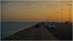 Friday evening walk (abiexplorer) Tags: gulf saudiarabia sea nature travel shadow lighg sunset sony camera walk street windy winter fishing dammam friday holiday evening