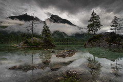 Under the silver sky (Mika Laitinen) Tags: canon5dmarkiv europe germany hintersee leefilters calm cloud color lake landscape longexposure mountain nature outdoors reflection rock sky tree water ramsaubeiberchtesgaden bayern de