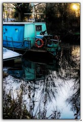 Winter mooring (tiggerpics2010) Tags: forthandclydecanal winter ice reflections water craft barge