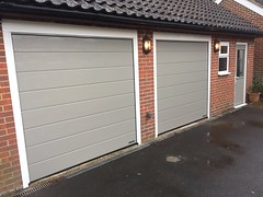 3 Hormann sectionals, one upvc window and a Hormann front door all in matching light grey RAL 7040