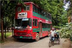Double Decker (Trains In Tasmania) Tags: bangladesh dhaka bus doubledeckbus red rickshaw university dhakauniversity leyland ashokleyland trainsintasmania stevebromley canoneos550d brtc